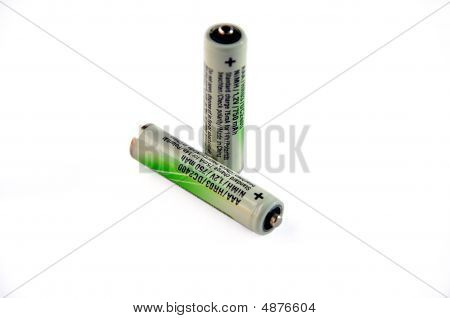 Two batteries isolated over white with clipping path. poster