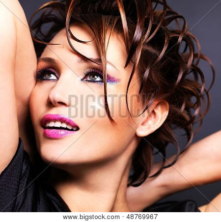 Beautiful Saxy Woman With Bright Pink Makeup