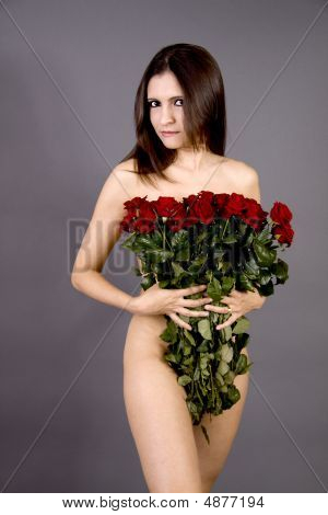 Nude Woman With Valentines Roses