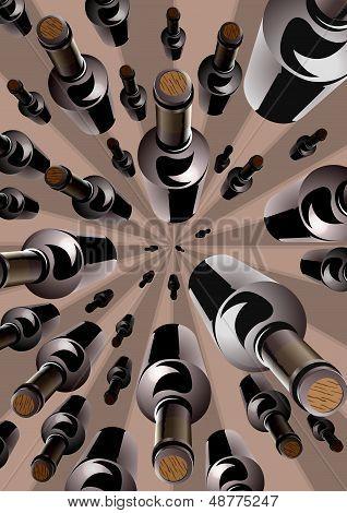 Wine bottles in an overhead converging pattern