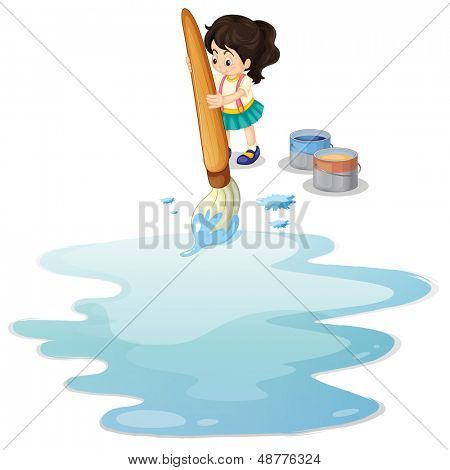 Illustration of a little girl painting the floor on a white background