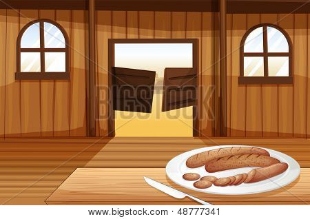 Illustration of a plate with hotdogs
