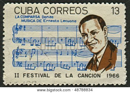 CUBA - CIRCA 1966: A stamp printed in Cuba shows image of the Ernesto Lecuona y Casado  was a Cuban composer and pianist of Canarian father and Cuban mother, and worldwide fame, circa 1966.