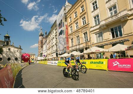 KRAKOW, POLAND - AUGUST 3: Unidentified participants of 70th Tour de Pologne cycling 7th stage race, August 3, 2013 in Krakow, Poland. Tour de Pologne, the biggest cycling event in Eastern Europe.