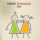 Happy friendship day greeting card or background with cartoonist illustration of little kids. poster