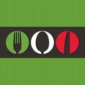 Italian menu design with cutlery symbols -  vector illustration poster