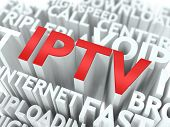IPTV - Wordcloud Internet Concept. The Word in Red Color, Surrounded by a Cloud of Words Gray. poster