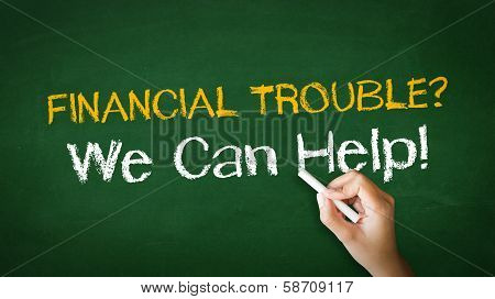 A person drawing and pointing at a Financial Trouble Chalk Illustration poster