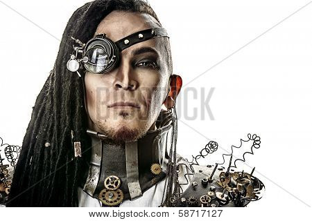 Portrait of a steampunk man. Isolated over white background.