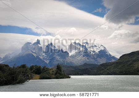 CHILE - FEBRUARY 19: Pehoe Lake in Torres Del Paine National Park.