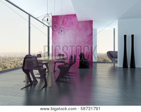 Extravagant dining room interior with pink eyecatching wall