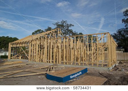 JACKSONVILLE, FLORIDA, USA-SEPTEMBER 11, 2013: A new home under construction in Jacksonville. New home sales fell 6.6 percent in September to a 354,000 annual rate, the weakest since April 2012.