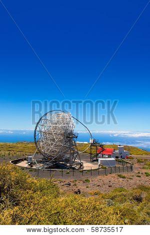 LA PALMA, CANARY ISLANDS, SPAIN - JULY 12, 2012: Magic telescope at ORM observatory at Roque de los Muchachos in La Palma, Canary, Spain, July 12, 2012. Is a gamma-ray high sensivity astronomy mirror.