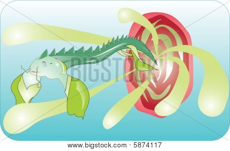 Fish-dragon in the sea