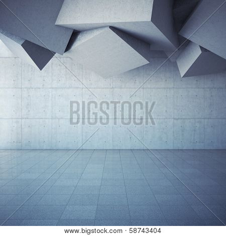 Architectural design of modern concrete hall with abstract geometry