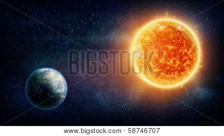 Planet Earth, sun and stars (Nasa imagery)