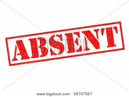ABSENT red Rubber Stamp over a white background. poster