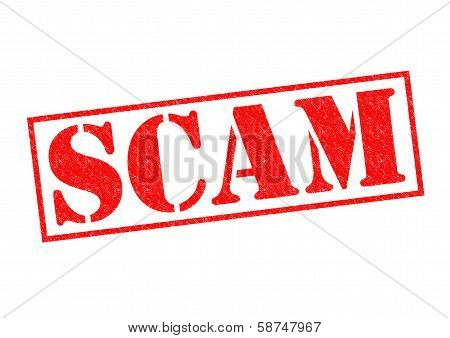 SCAM red Rubber Stamp over a white background. poster