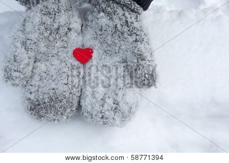 Snowy Mittens With Tiny Red Heart.