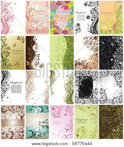 Set of floral vertical cards