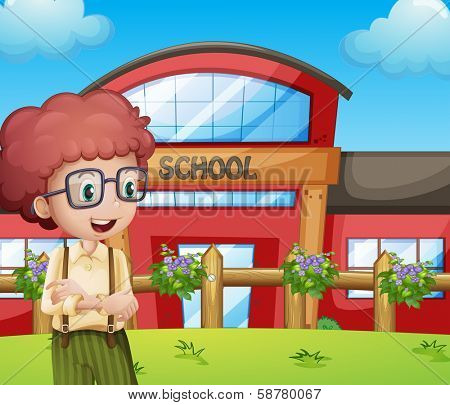 Illustration of a boy with a school building at his back