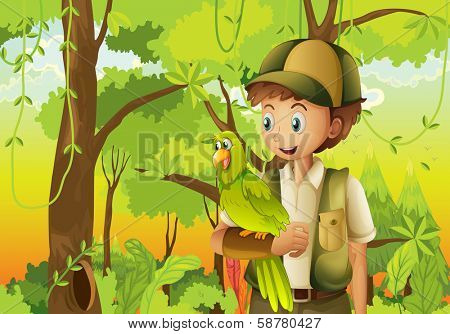 Illustration of a young boyscout with a parrot