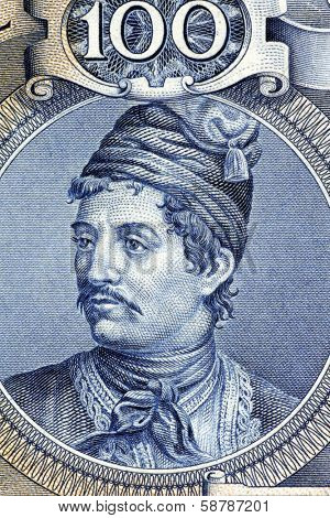 GREECE- CIRCA 1944: Constantine Kanaris (1793-1877) on 100 Drachmai 1944 Banknote from Greece. Greek admiral and politician who in his youth was a freedom fighter in the Greek War of Independence.
