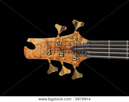 Curved Patterned Wood Bass Guitar Headstock On Black
