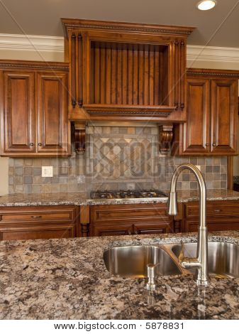Luxury Home Dark Wood Kitchen With Faucet