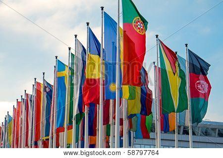 Different international flags