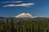Mount St. Helens on a clear day against clear blue sky poster