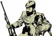 Hunter and dog hunting theme illustration vector. poster
