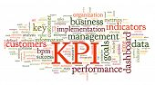 KPI key performance indicators in word tag cloud on white background poster