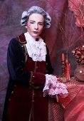 Gentleman. Young woman in gallant cavalier image poster