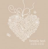 Pastel greeting card with lacy heart shape poster