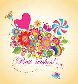 Funny greeting bouquet with balloon and candy poster