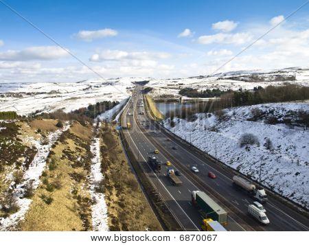 The M62 Motorway in winter