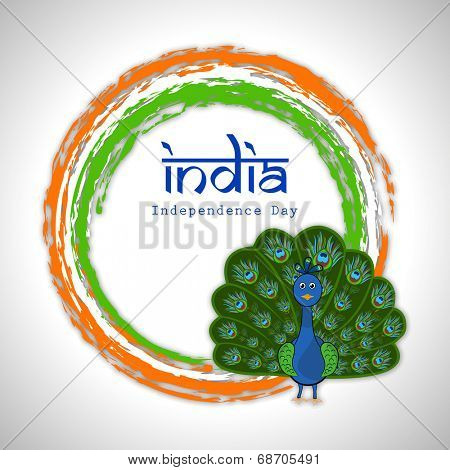 Indian national bird peacock in dancing position on national flag colors circle on grey background for Indian Independence Day celebrations.
