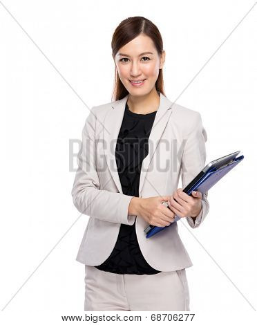 Young business woman with clip board on white background