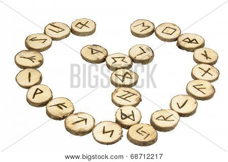 Arrangement Of Handmade Wooden Runes With Nordic Symbols