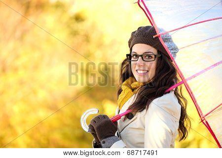 Cheerful Fashion Woman With Umbrella Enjoying Autumn