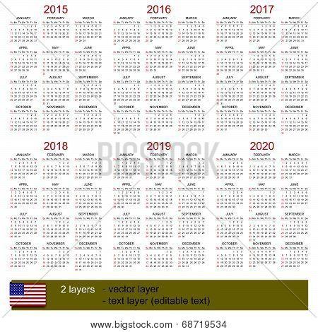 Calendar 2015-2020