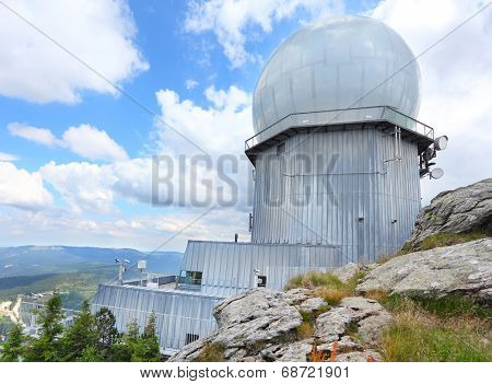 GROSSER ARBER, GERMANY - JULY 16 2014: NATO distant early warning, high-resolution radar on 1456 m high peak in Bayerische Wald. National park in Bavaria.