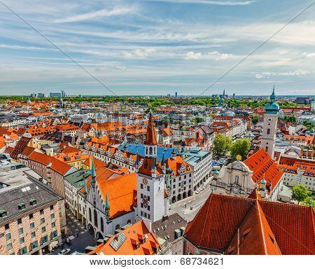 Aerial view of Munich - Marienplatz and Altes Rathaus, Bavaria, Germany