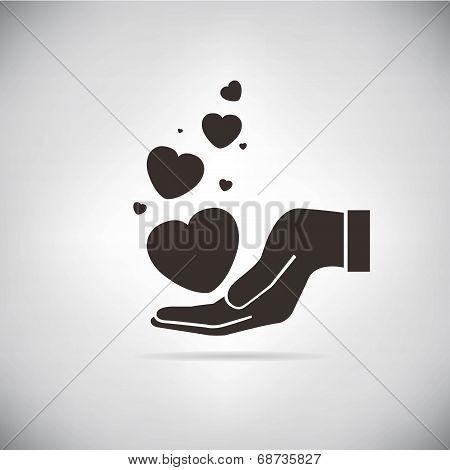 hand holding hearts