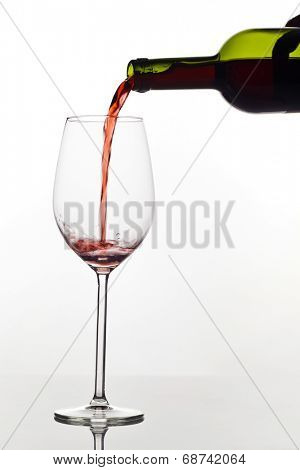 in a glass of red wine peppy is empty. red wine in wine glass