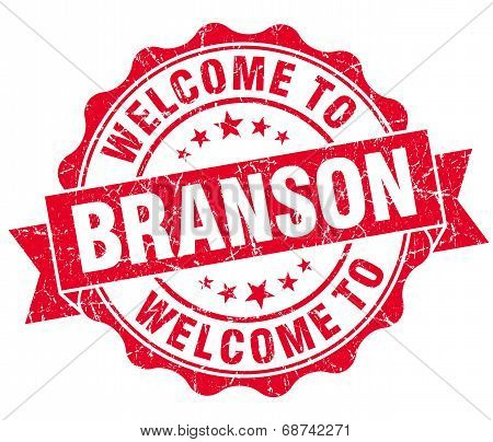 Welcome To Branson Red Vintage Isolated Seal