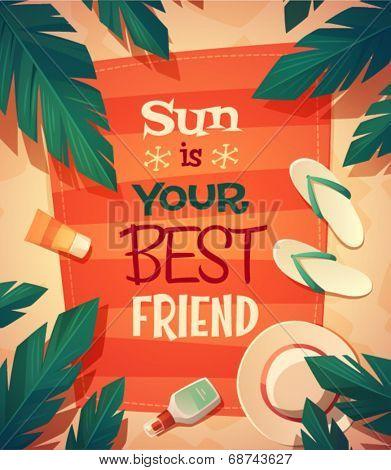 Summer beach card \ poster design. Vector illustration