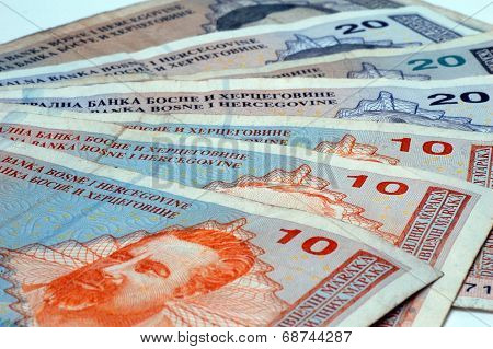 These are the convertible marks the Bosnian banknotes. poster