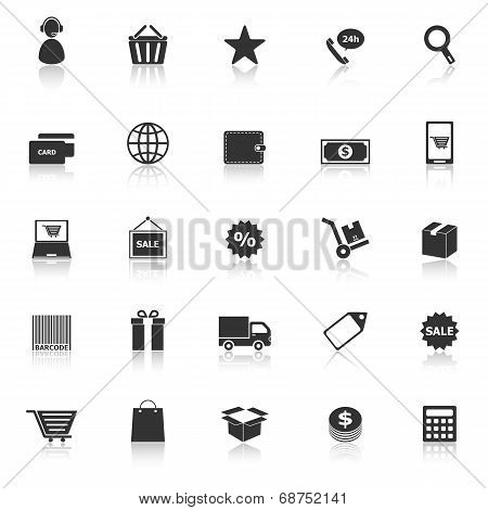E-commerce Icons With Reflect On White Background